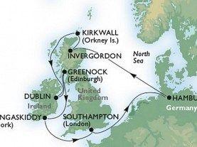 Hamburg - Invergordon - Kirkwall - Greenock -  Dublin - Cork - Southampton - Hamburg