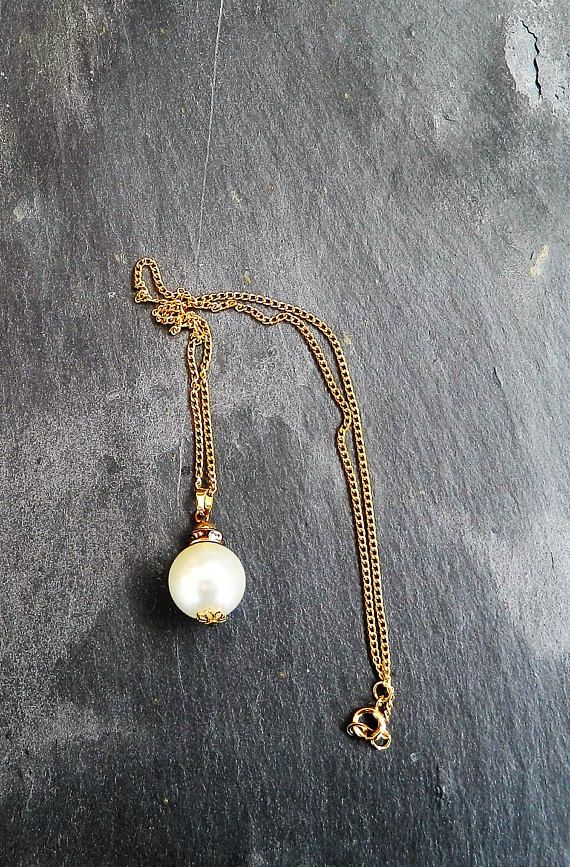 Pearl style necklace gift for her charm necklace for a wife