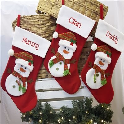 """Personalised Christmas Stocking - Snowman Extra Large Stocking 24"""" Red Felt Christmas Stocking embroidered for you. WowWee.ie 
