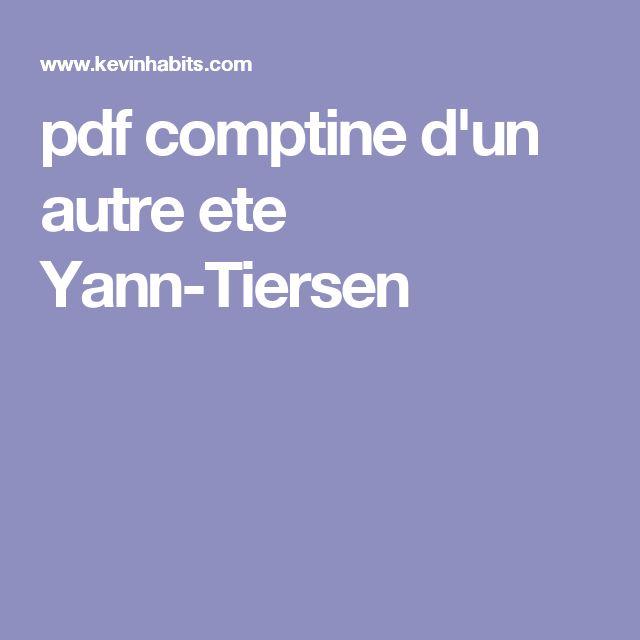 pdf comptine d'un autre ete Yann-Tiersen