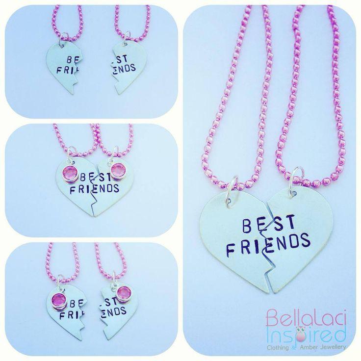 Sterling Silver Best Friends Necklace. Pink Swarovski Dangle is optional.  #BFF #bestfriends #besties #sterlingsilver