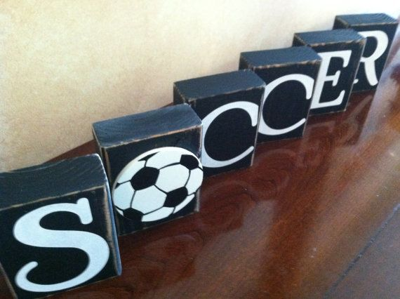 Wood Soccer Blocks Bedroom Decor for Boys by WoodnExpressions