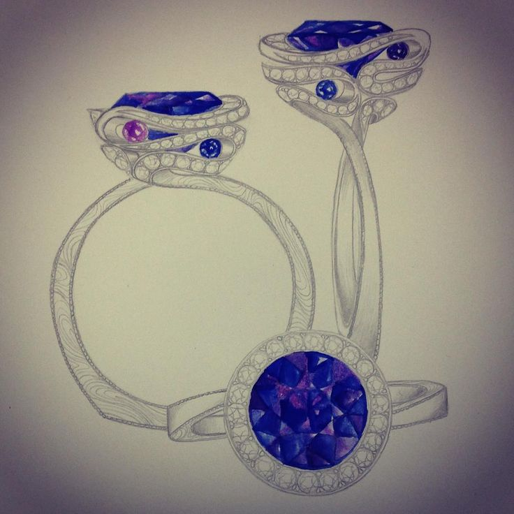 """""""When I see a white piece of paper, I feel I've got to draw. And drawing, for me, is the beginning of everything."""" - Ellsworth Kelly #illustration of #colorchangesapphire #fashion #ring with #diamonds #markschneiderdesign"""