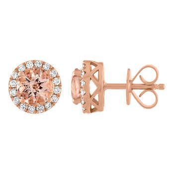987b5aa058b01f Morganite and Diamond 14kt Rose Gold Earrings | Luxe Gifts | Gold ...