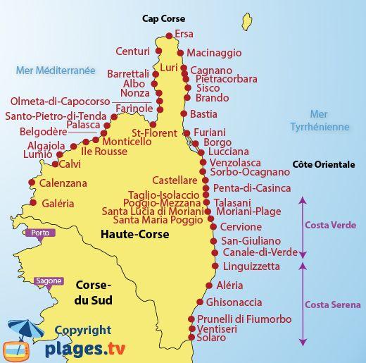 Corsica - PLAGES EN HAUTE-CORSE (2B) - LISTE DES STATIONS BALNÉAIRES DANS LE NORD DE LA CORSE. Cliquez sur la ville de votre choix pour découvrir les plages