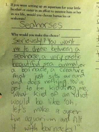 Laughed out loud so hard. More of the greatest inappropriate test answers from young children.