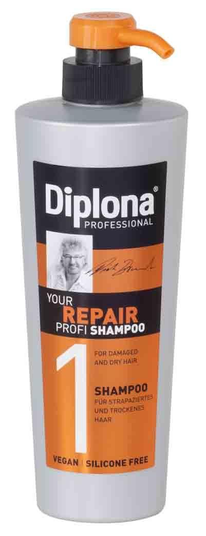 Σαμπουάν για ξηρά μαλλιά Diplona Professional Repair με πανθενόλη και πρωτεϊνες σιταριου Τα ταλαιπωρημένα μαλλιά δυναμώνουν και αναζωογονούνται. Για υγιή μαλλιά!