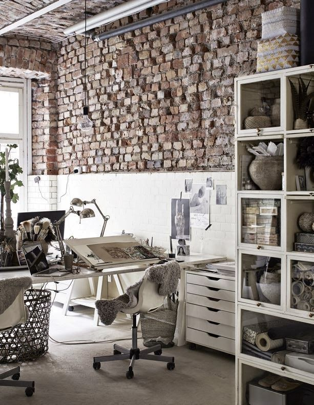A creative's industrial style office. Great setup.