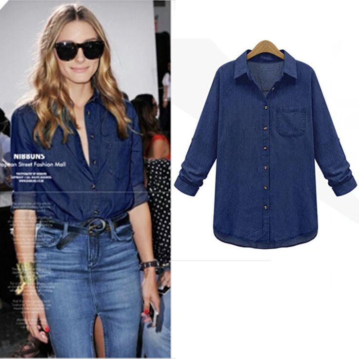 denim shirt women clothing nostalgic gradient jeans shirt vintage women's blouse