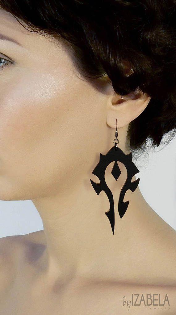 Boucles d'oreilles Horde boucles d'oreilles grand noir de World of Warcraft, WoW, boucles d'oreilles Gamer, symbole de la Horde noire, World of Warcraft bijoux,