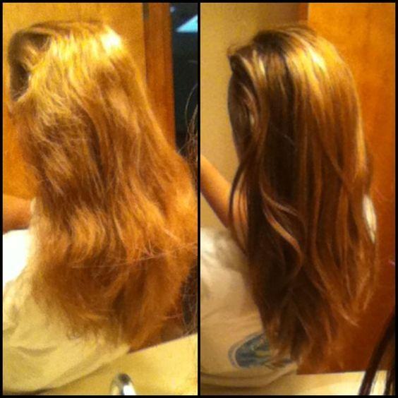 3 EL Kokosnuss-ÖL schmelzen und mit 1 Ei mischen. Für 40 min im Haar lassen und dann auswaschen. FERTIG!: