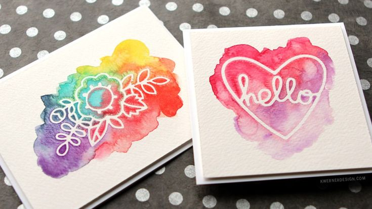 Freezer Paper Masking - Kristina Werner - simple watercolor cards using freezer paper with dies