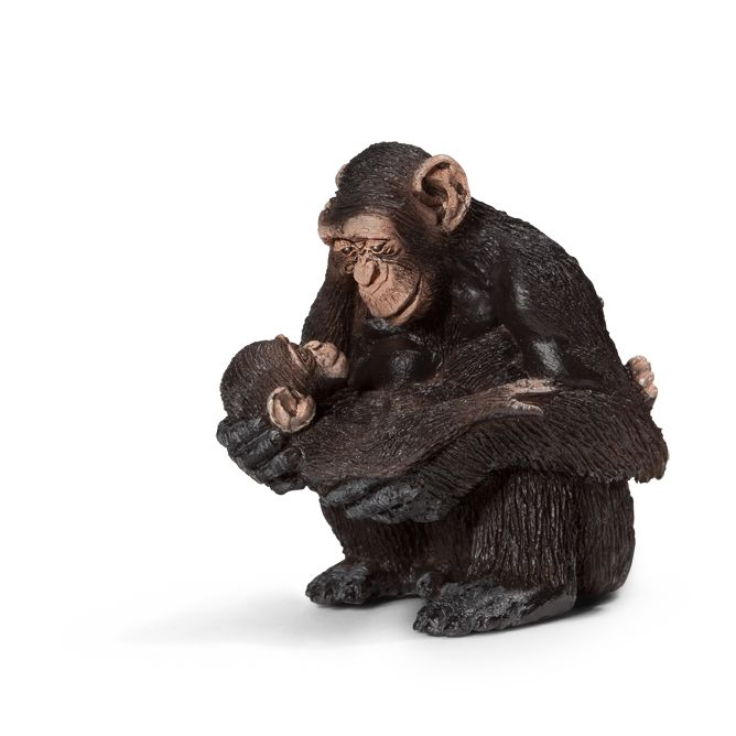 ___Chimpanzee female with baby____ Schleich Figurine available at Fantaztic Learning Store Canada - shop.fantazticcatalog.com