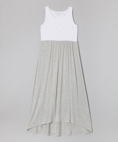 Just ordered for Kate! White  Heather Gray Lace Maxi Dress for Girls http://www.zulily.com/invite/tomkatstudio