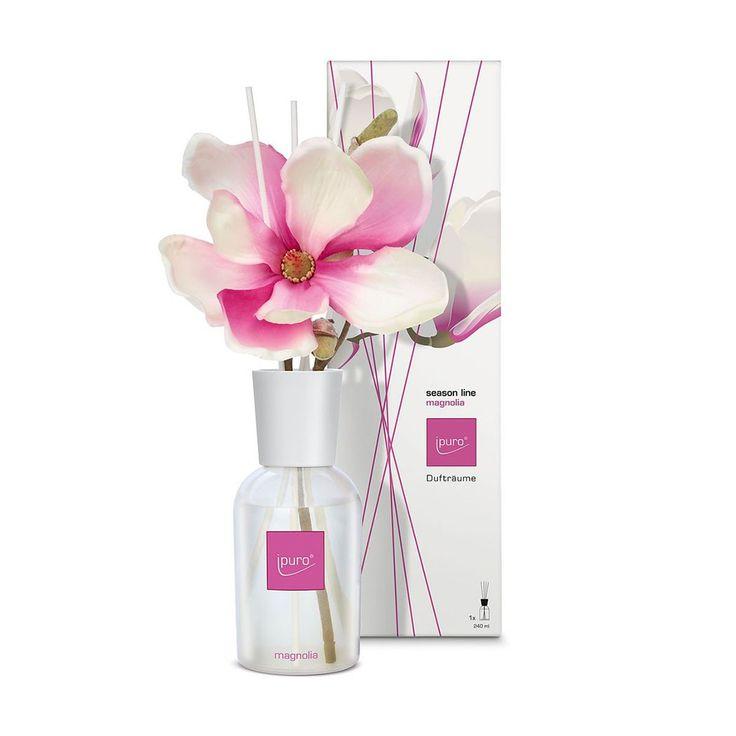 Ipuro Raumduft Magnolia Season Line. Zarte Knospen erinnern an den Frühling. Der feine, leicht blumige Duft schafft einen eleganten, zarten Flair. Auch gut als Geschenk! www.bettwaren-shop.de
