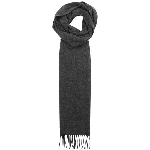Johnstons Of Elgin Charcoal Cashmere Scarf (430 BRL) ❤ liked on Polyvore featuring men's fashion, men's accessories, men's scarves and mens cashmere scarves
