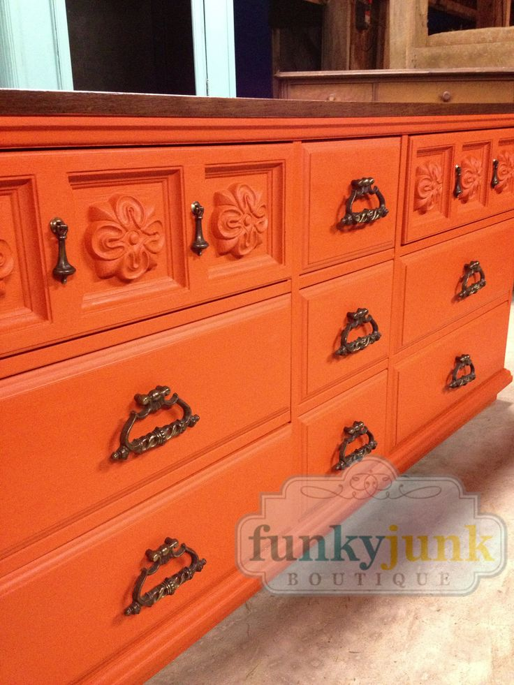 I love Mediterranean influenced 1970's furniture painted in bold color! Chalk Paint® in Barcelona Orange.  Finished by Shell Venus at Funky Junk Boutique in Downtown Seville, Ohio.