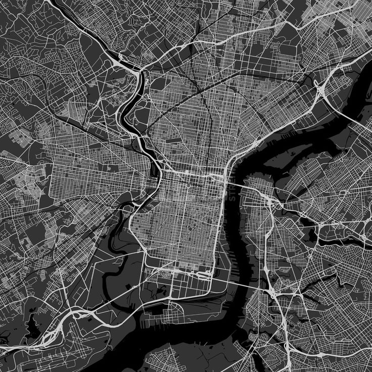 Philadelphia downtown and surroundings Map in dark version with many details for high zoom levels. This map of Philadelphia contains typical landmarks... ... #map #download #citymap #areamap #usa #background #clean #city #area #modern #landmarks #ui #ux #hebstreit