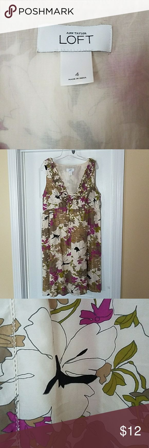Anne Taylor Loft Silk Blend Sundress Silk floral print sundress with ruffled v-neck and elastic waist. About 32 inches from shoulder to hem. LOFT Dresses