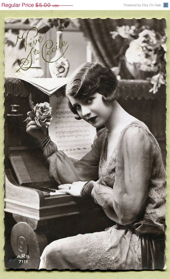 Original French vintage real photo postcard - Flapper art deco lady sitting at the piano - Victorian Paper Ephemera. @Deidra Brocké Wallace