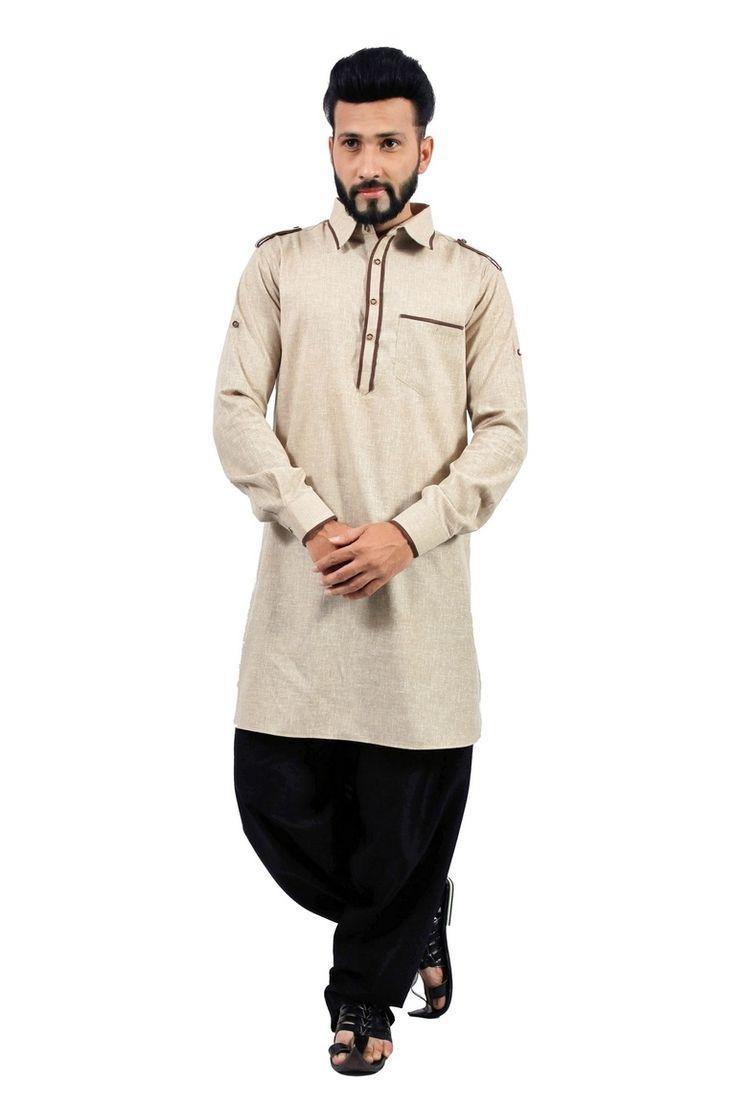 Dark Khaki Pathani Suit  This Stylish Beige Cotton Blend Pathani Is One Of A Kind And Is Perfect For That Confident Man In You. The Brown Linings At The Neckline And The Cuffs Add To The Perfection Of This Pathani.