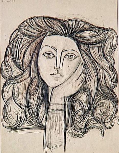 Pablo Picasso, Portrait de Françoise,1946. Crayon de Graphite, crayon trois couleurs et fusain estompé sur papier. 66,5 x 50, 8 cm. Musée National Picasso, Paris.