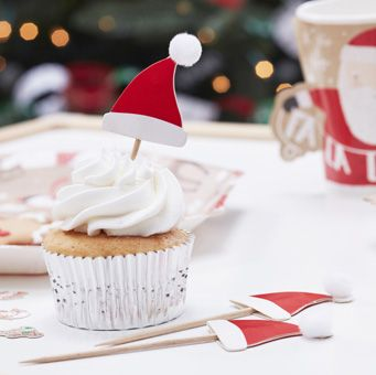 Use these cute red and white Santa Hat Food Picks to give your festive foods that Christmassy feeling! The perfect way to make your yummy treats even more fun.
