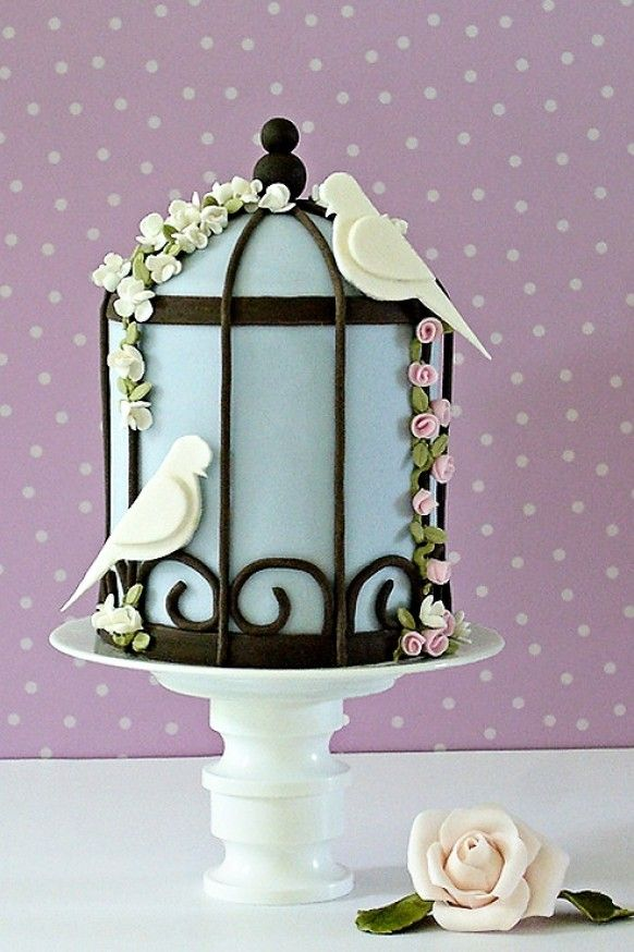 I love this little bird cage cake...so cute!    ᘡηᘠ  Special Wedding Cakes ♥ Wedding Cake Design