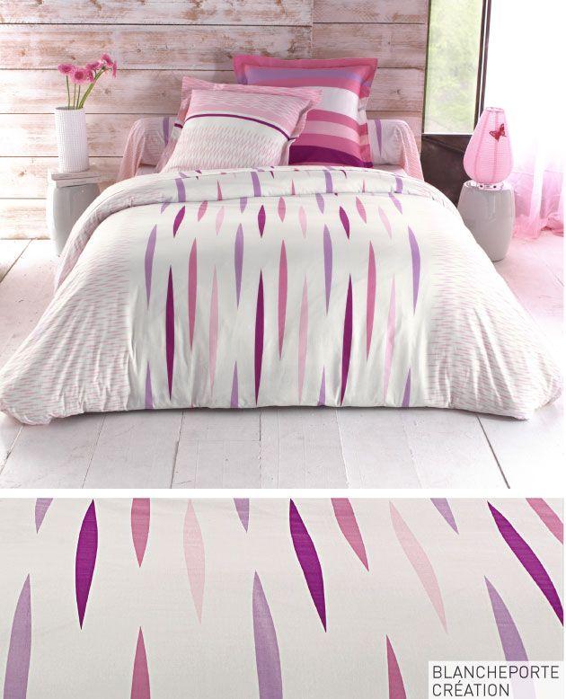 Les 344 meilleures images propos de linge de maison sur for Parure de lit blanche porte