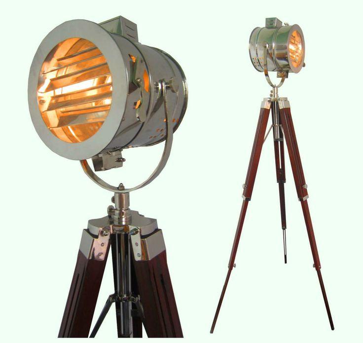 Chrome look vintage design searchlight spotlight telescopic tripod floor lamp lighting - Tripod spotlight table lamp ...