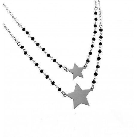 210bc24181e5  Gargantilla doble de Plata de ley con estrellas y piedras negras  Gargantilla doble que está