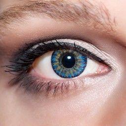 Blaue Kontaktlinsen farbige dunkelblaue Linsen von KwikSibs Königsblaue 4-farbig ohne Stärken (Plan)