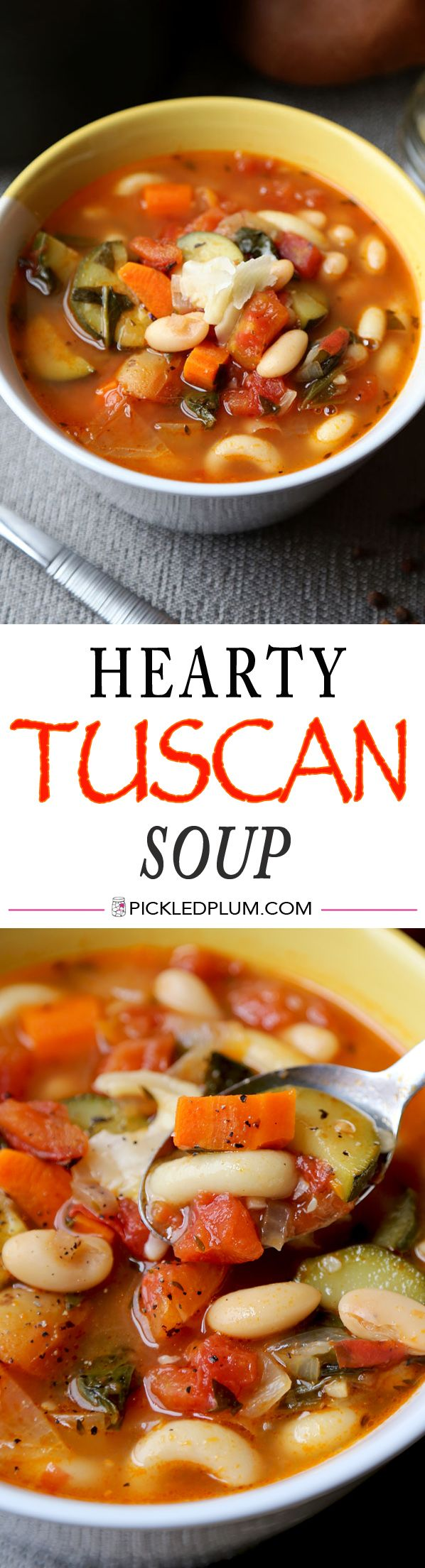 (Jan) - Hearty Tuscan Soup Recipe - vegan and healthy comfort food and only 10 minutes to prep! http://www.pickledplum.com/hearty-tuscan-soup-recipe/