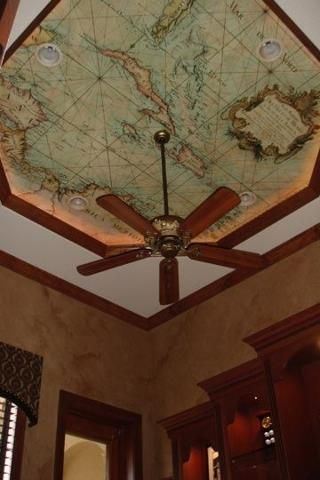 """love the mapped ceiling with """"tray ceiling"""" and light inset - doing this in front foyer! (will do hanging light fixture instead of fan)"""