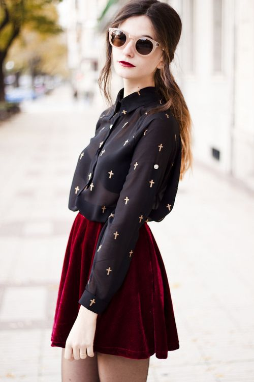 red velvet skirt