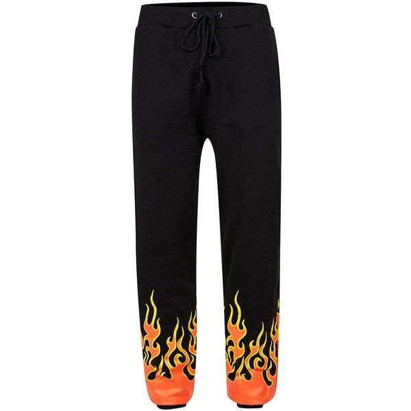 TOPMAN Granted Black Flame Joggers ($65) ❤ liked on Polyvore featuring men's fashion, men's clothing, men's activewear, black, urban mens clothing and men's urban apparel