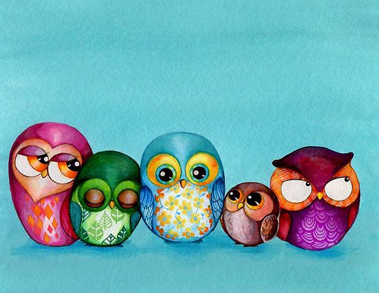 adorable Owl Family by Annya Kai