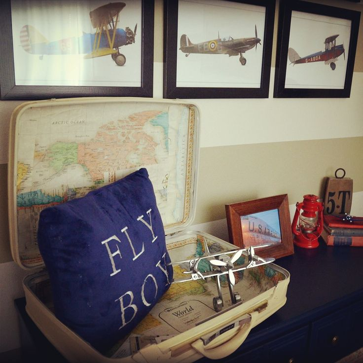 I decorated this aviation nursery for my 21 month old airplane lover. Most of the things in his room are DIY projects or thrift store and yard sale finds.