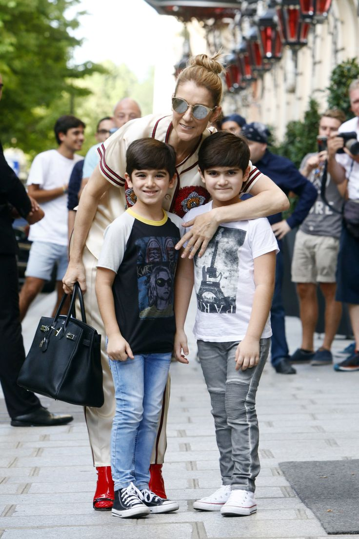 Celine Dion out with her child visit a shop in Paris, France, on July 17, 2017. Celine Dion is a Canadian singer and businesswoman. (Photo by Mehdi Taamallah/NurPhoto via Getty Images) via @AOL_Lifestyle Read more: https://www.aol.com/article/entertainment/2017/07/19/celine-dion-poses-with-her-twin-boys-eddy-and-nelson-in-rare-photo/23037561/?a_dgi=aolshare_pinterest#fullscreen