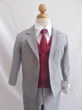 Boy Long Tie Black with Burgundy Vest for Ring Bearer Suit