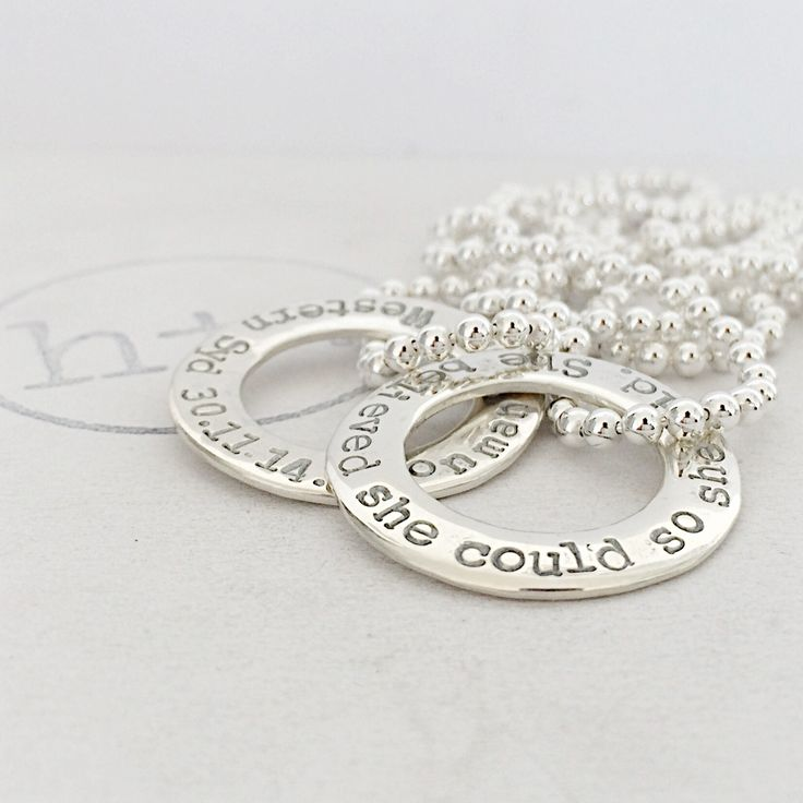 """Classic Washer pendants set on Ball Chains. Matching """"She believed she could so she did"""""""