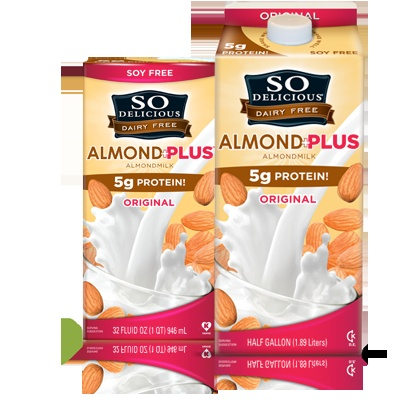 New So Delicious Almond Milk + protein has 5x the protein of regular almond milk! And tastes awesome too! Great for baking ... I could go on & on!