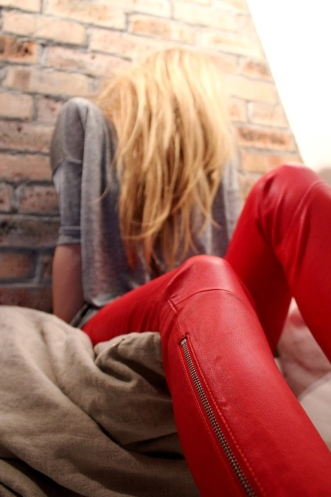 Red leather pants mhmm