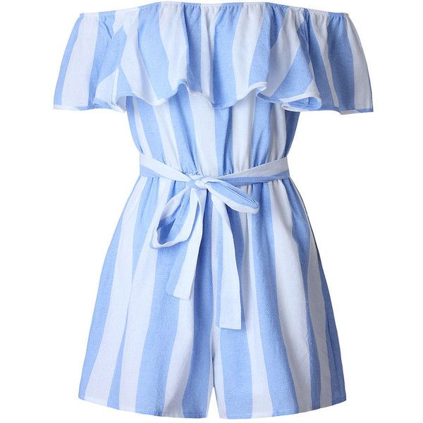 Off Shoulder Flounce Vertical Striped Romper (90 BRL) ❤ liked on Polyvore featuring jumpsuits, rompers, dresses, playsuits, romper jumpsuit, ruffle romper, off the shoulder romper, off the shoulder ruffle jumpsuit and beach jumpsuit