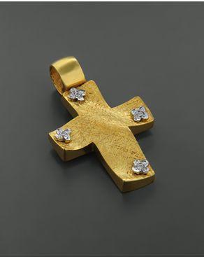 Σταυρός Βαπτιστικός Χρυσός & Λευκόχρυσος με Ζιργκόν