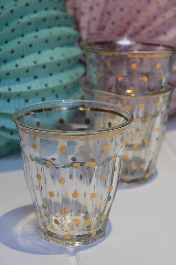 Gold Polka Dot Glass
