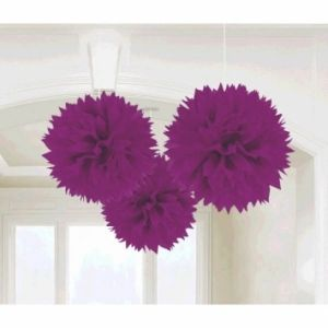 Our New Purple Fluffy Paper Decorations are perfect to hang from a ceiling or doorway to instantly bring a fun mood to any party!