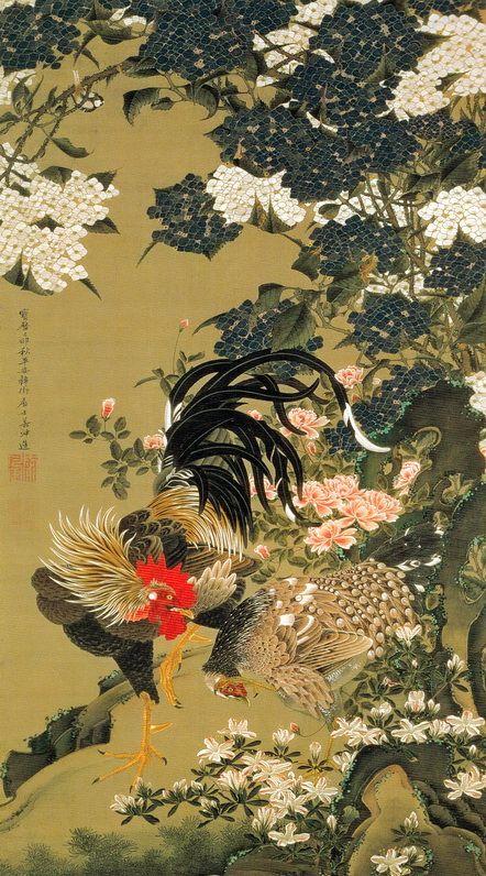 Ito Jakuchu 動植綵絵 Doshoku Sai-e,Title:紫陽花双鶏図 Ajisai Sokei-zu(Hydrangeas and Pair of Chickens) c.1759