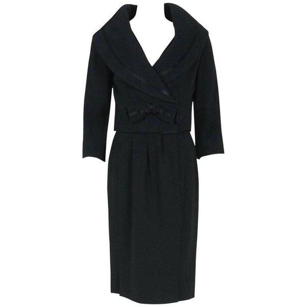 Preowned 1955 Jean Patou Haute-couture Black Wool & Satin Cocktail... ($3,500) ❤ liked on Polyvore featuring dresses, aesthetic evening dresses, black, wiggle dress, low cut dresses, holiday dresses, holiday party dresses and cocktail dresses