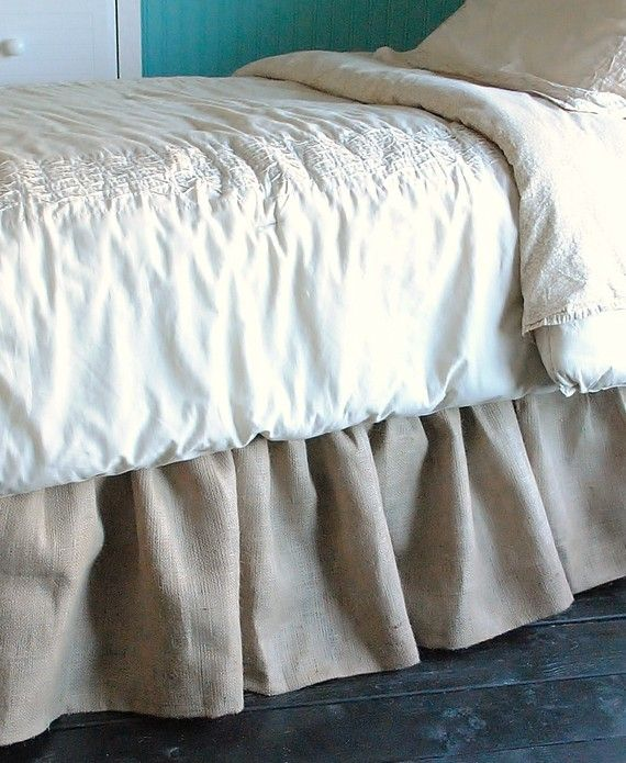 Burlap Bed Skirt Queen and King via Etsy $120.00! I have been looking for a burlap bed skirt..